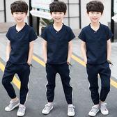 男童套裝2019新款中大童8棉麻夏季短袖兒童裝10男孩休閒潮TA7532【極致男人】