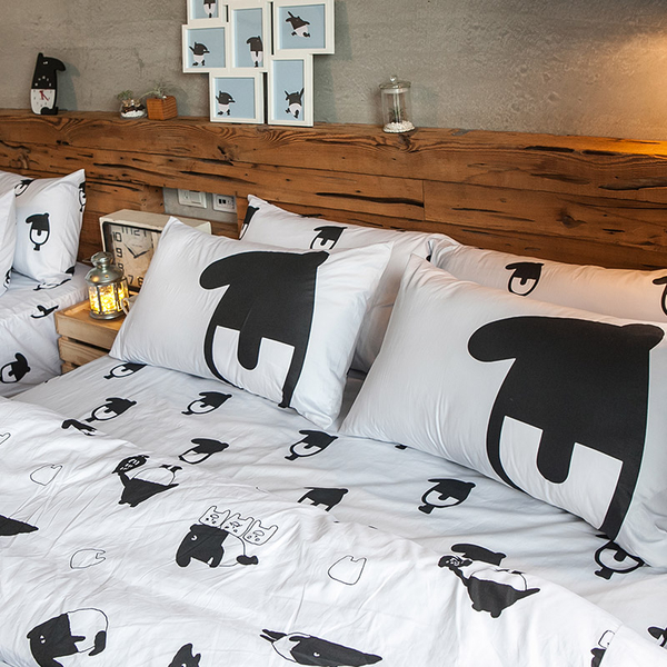 床包 / 雙人【經典黑白款-馬來貘的日常】含兩件枕套  100%精梳棉  戀家小舖台灣製AAL201