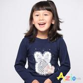 Azio女童 上衣 刺繡網格蝴蝶結兔子長袖上衣 (深藍) Azio Kids 美國派 童裝