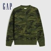 Gap男裝 簡約風格純色圓領休閒上衣 627535-綠色迷彩