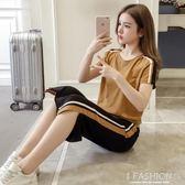 2018夏季新款韓版休閒女裝運動服套裝兩件套短袖七分寬管褲套裝-Ifashion