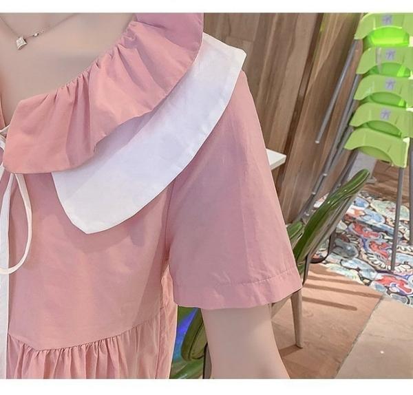 漂亮小媽咪 法系娃娃 花邊領 洋裝 【D7928】 短袖 荷葉 繫帶 娃娃領 娃娃裙 洋裝 孕婦裝