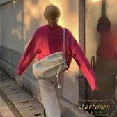韓版復古抽繩水桶包簡約百搭大容量斜挎包時尚單肩包【繁星小鎮】