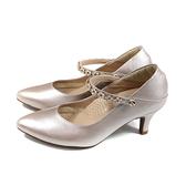HUMAN PEACE 尖頭跟鞋 粉紅色 金屬色澤 水鑽 女鞋 073559CB no377