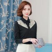 春季襯衫韓版女裝修身大碼OL時尚打底衫春蕾絲上衣潮ZM2B139依佳衣