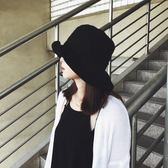 漁夫帽  系素面男女韓國復古盆帽百搭乞丐禮帽子超大檐休閒可摺疊盆帽