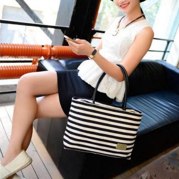 《J 精選》韓版簡約時尚帆布條紋手提包/肩背包