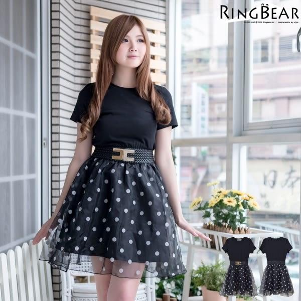 紗裙--甜美個性普普風大圓點紗裙假編織腰帶連身洋裝(XL-5L)-D369眼圈熊中大尺碼◎