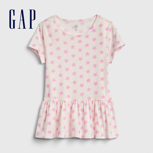 Gap女幼甜美風格印花短袖連衣裙540049-純色童趣印花