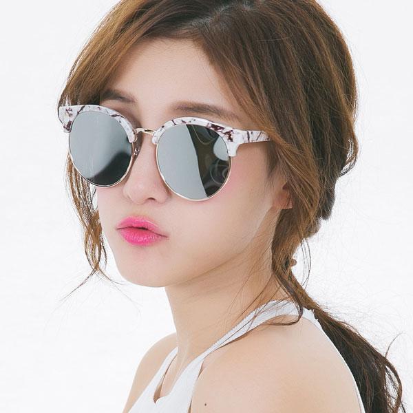 OT SHOP太陽眼鏡‧韓系個性復古時尚眉圓框抗UV400墨鏡‧橘紅/藍綠/反光黑/亮黑全黑4色現貨NH43