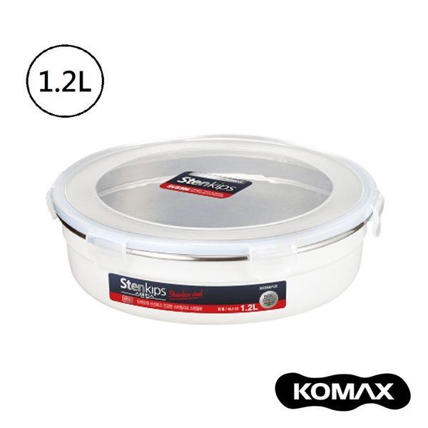 韓國KOMAX Stenkips不鏽鋼圓型保鮮盒1200ml(白色) 餐盒 便當盒 儲物盒