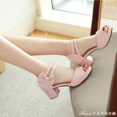中跟魚嘴涼鞋女夏季新款韓版甜美蝴蝶結公主淺口露趾粗跟女鞋艾美時尚衣櫥
