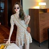 洋裝 復古碎花連身裙-媚儷香檳-【D1595】