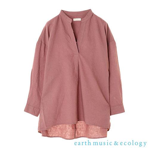「Hot item」亞麻混紡寬鬆長版V領上衣 - earth music&ecology