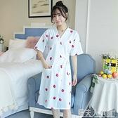 睡袍女夏季純棉浴袍衣女士中長款睡裙和服草莓睡衣春秋薄款家居服「錢夫人小鋪」