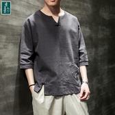 棉麻上衣 中國風衣短袖T恤夏季亞麻唐裝半袖中式復古風男裝上衣T恤桖 - 古梵希