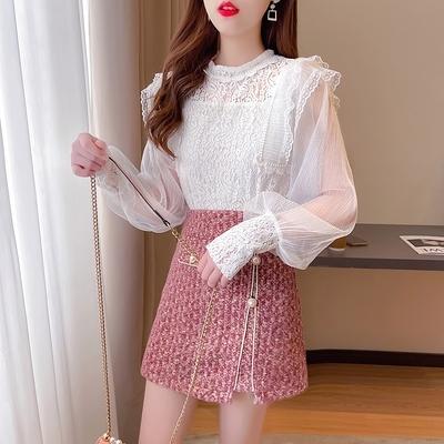 短袖套裝~7130#2021春新款名媛小香風氣質淑女蕾絲衫復古半身裙兩件套H311-E胖妞衣櫥