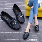 平底淺口百搭豆豆鞋孕婦媽媽鞋軟底軟面黑色工作鞋女『艾麗花園』