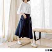OB嚴選《CA299-》休閒好感~柔軟純棉抽繩綁帶素色長裙‧2色--適 S~XL