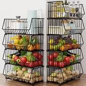 廚房蔬菜置物架落地多層放菜架子水果家用蔬果收納筐菜籃子置物架 NMS美眉新品