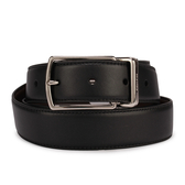 COACH素面雙色皮革旋轉針扣式皮帶(黑色/深咖啡)196160