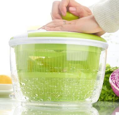 水果蔬菜甩乾機手動沙拉脫水機脫水籃廚房瀝水籃高速離心瀝水器