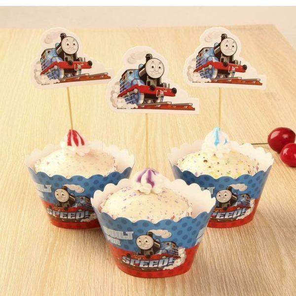 【發現。好貨】烘焙包裝紙杯蛋糕蛋糕裝飾插牌圍邊+插牌裝飾派對用品【湯瑪士小火車】
