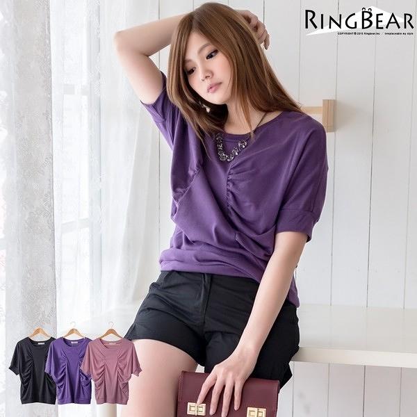 質感素面--完美身型蝴蝶結抓皺素面圓領短袖上衣(黑.紅.紫M-XL)-U331眼圈熊中大尺碼