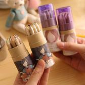 色鉛筆 萌 卡通 12色 彩色鉛筆 附削筆機【YL0126】 icoca  03/30