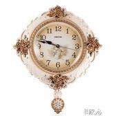 時尚石英鐘表歐式掛鐘客廳 E家人