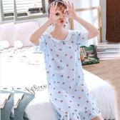 新款韓版可愛少女棉綢睡裙女夏天人造棉綿綢薄款寬鬆家居服夏 快速出貨