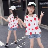 女童夏裝新品t恤 女大童正韓洋氣露肩上衣 時尚寬鬆寶寶衣服潮 鉅惠85折