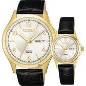【送米奇電扇】CITIZEN 星辰 經典日曆石英對錶-金框x黑/40+27mm BF2003-25A+EQ0593-26A