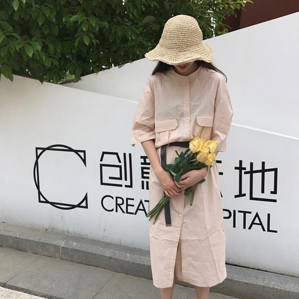 [超豐國際]夏季簡約寬松中長款純色襯衣裙百搭顯瘦立領短袖連衣1入