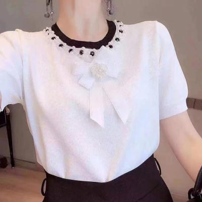 法式風夏新款網紅套頭短袖圓領釘珠蝴蝶結修身針織衫上衣女N2F-A10-A胖妞衣櫥