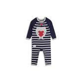 Gap男嬰童趣織紋圓領套頭長袖連體衣524337-海軍藍色