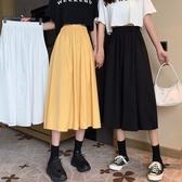 夏季新款高腰顯瘦百搭A字中裙韓版小個子純色遮胯半身裙女潮
