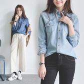 新款早春長袖牛仔襯衫女襯衣韓版寬鬆 東京衣櫃