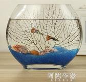 魚缸 創意扁口玻璃魚缸橢圓形 超白透明玻璃金魚缸迷你水族箱小型桌面 MKS阿薩布魯