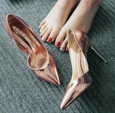 高跟鞋春夏尖頭高跟鞋細跟側空OL漆皮女鞋淺口百搭銀色單鞋涼鞋 夏洛特