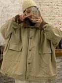 工裝外套 工裝棉服女韓版寬鬆bf秋冬復古中長款大衣ins羊羔毛外套【全館免運】