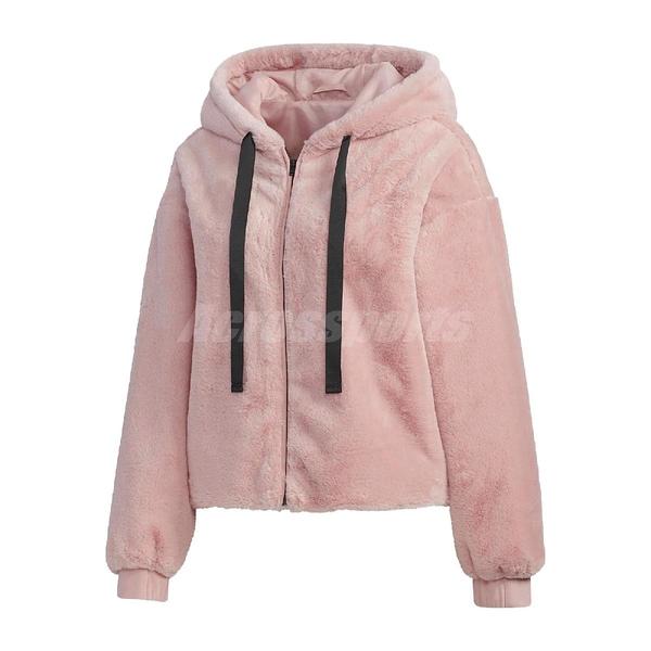 adidas 外套 Style Fur Jacket 粉 黑 女款 連帽外套 張鈞甯款 絨毛 運動休閒 【ACS】 GM1469