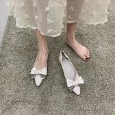 尖頭單鞋女平底2021年春款鞋子低跟蝴蝶結仙女鞋百搭黑色淺口瓢鞋