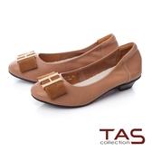 TAS 金屬飾釦蝴蝶結拼接娃娃鞋棕咖