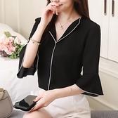 夏季短袖新款寬松大碼黑色雪紡衫翻領襯衫女小衫女打底衫襯衣GD747-A胖妞衣櫥
