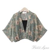 自制夏季新款復古和風日系小清新V領短款雪紡衫蝙蝠袖兩件套上衣 范思蓮恩