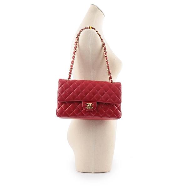 【CHANEL】金釦菱格紋小羊皮 25cm COCO包(紅色) CH1A000078 A01112