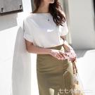 白色雪紡襯衫女夏季薄款短袖2019新款單穿職業裝一字領上衣白襯衣