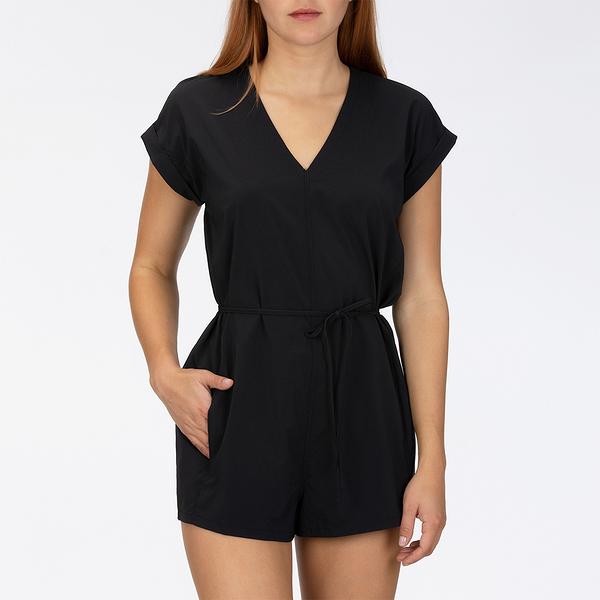 HURLEY|女 W HRLY COASTAL ROMPER SS BLACK 連身褲