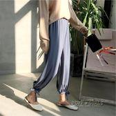 綁帶燈籠褲女夏 雪紡紗束腳薄款哈倫褲寬鬆顯瘦九分蘿卜褲 休閒褲